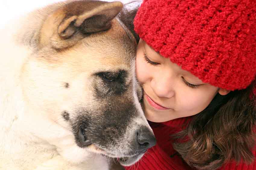 Young girl and her Akita pal